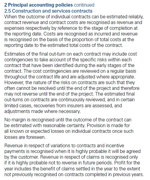 Extra disclosures IFRS 15 contracts