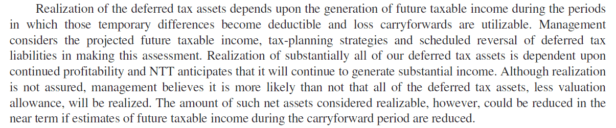 Valuing deferred tax assets