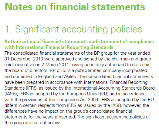 BP Plc Annual Report and Form 20 F 2010 Statement of compliance with IFRS