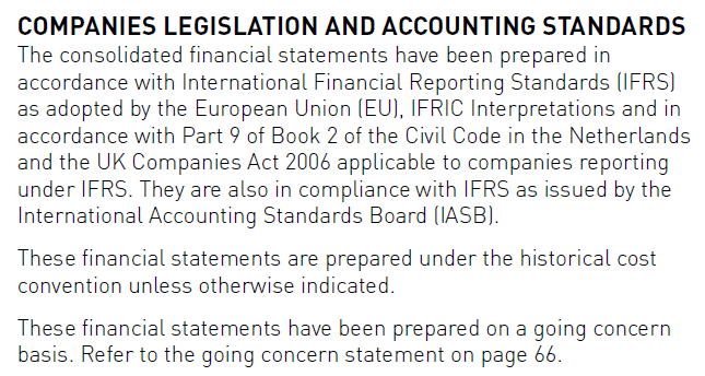 In compliance with International Financial Reporting Standards