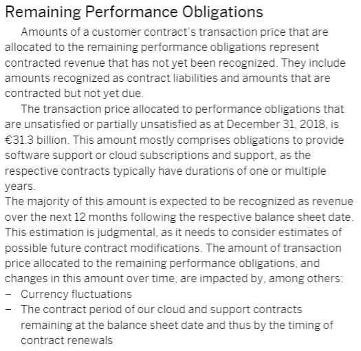 SAP FS 2018 Remaining performance obligations