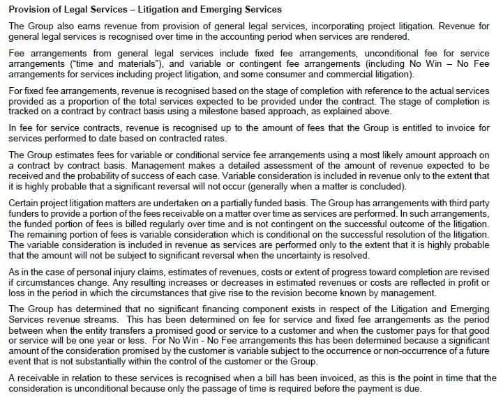 Slater and Gordon Limited Provision of legal services 2018