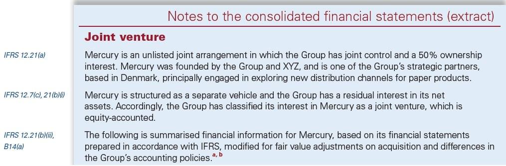 IFRS 12 Disclosure Joint arrangements
