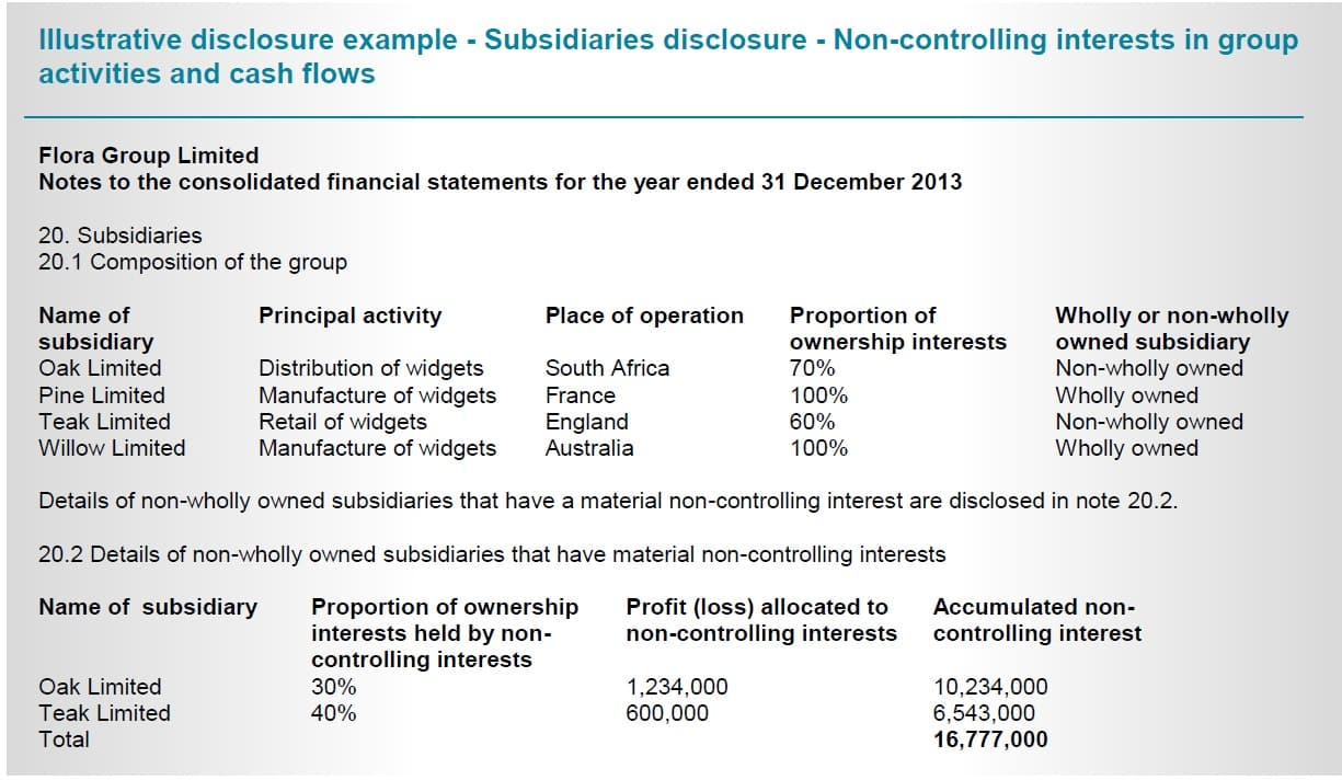 IFRS 12 Disclosure Subsidiaries